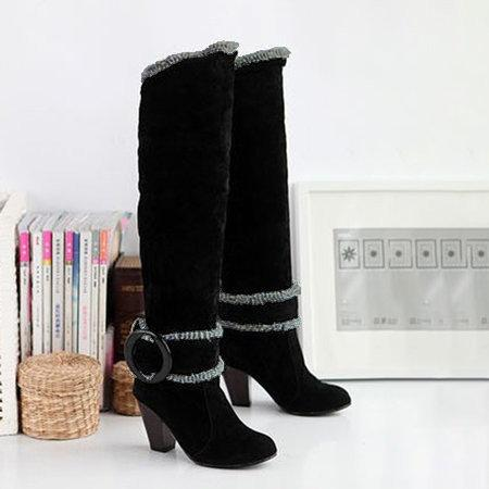 Casual Round Toe Warm Leather High Heel Boots