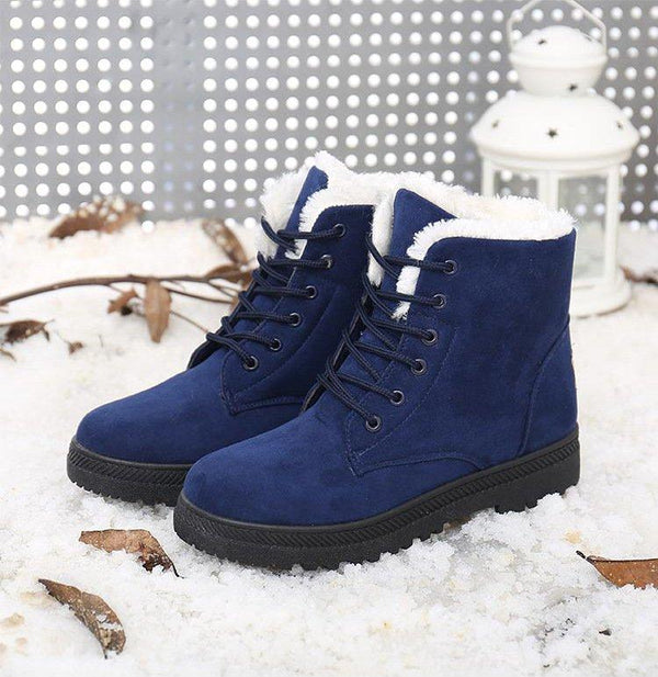 Casual Cute and Comfy Round Toe Snow Flat Heel Boots