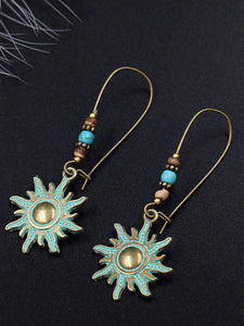 Bronze Danglers Bohemian Vintage Charm Fashion Retro Personalized Party  Sun Drop Earrings