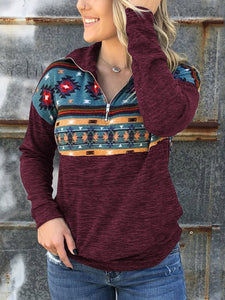 Daily Basic Lapel Floral Long Sleeve Hoodie
