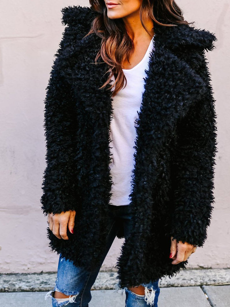 Casual Solid Long Sleeve Fluffy Quilted Coat