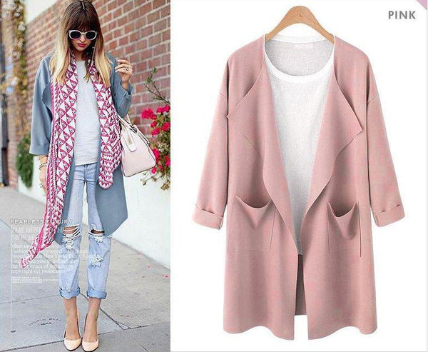 Casual Pockets Open Front Solid Color Long Sleeve Coat