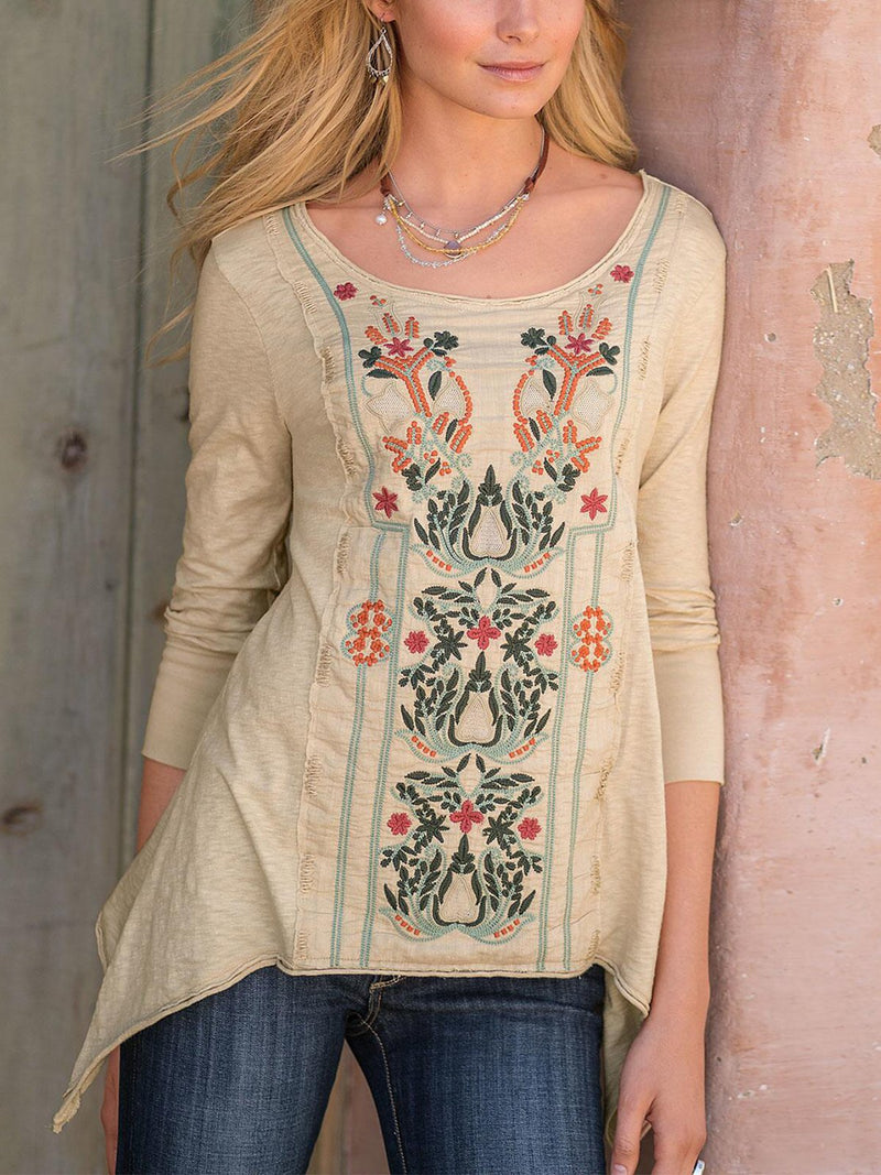 Casual Floral Round Neck Shirts & Tops