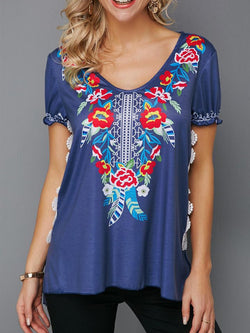 Plus Size Casual V Neck Floral Short Sleeve Printed Tops