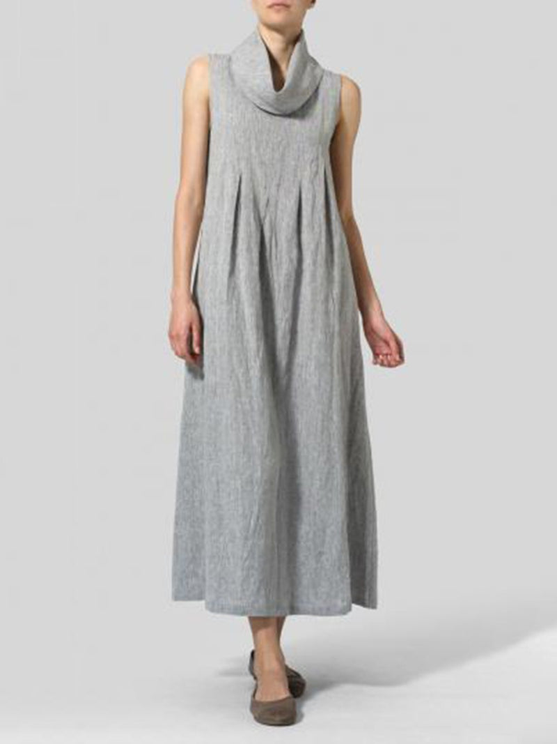 Basic Shift Solid Casual Turtleneck Sleeveless Maxi Dress