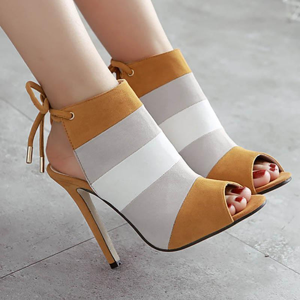 Color Block Peep Toe High Heel Gorgeous Boots