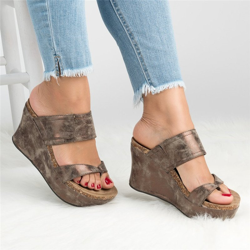 Large Size Slip-On Thong Wedge Sandals