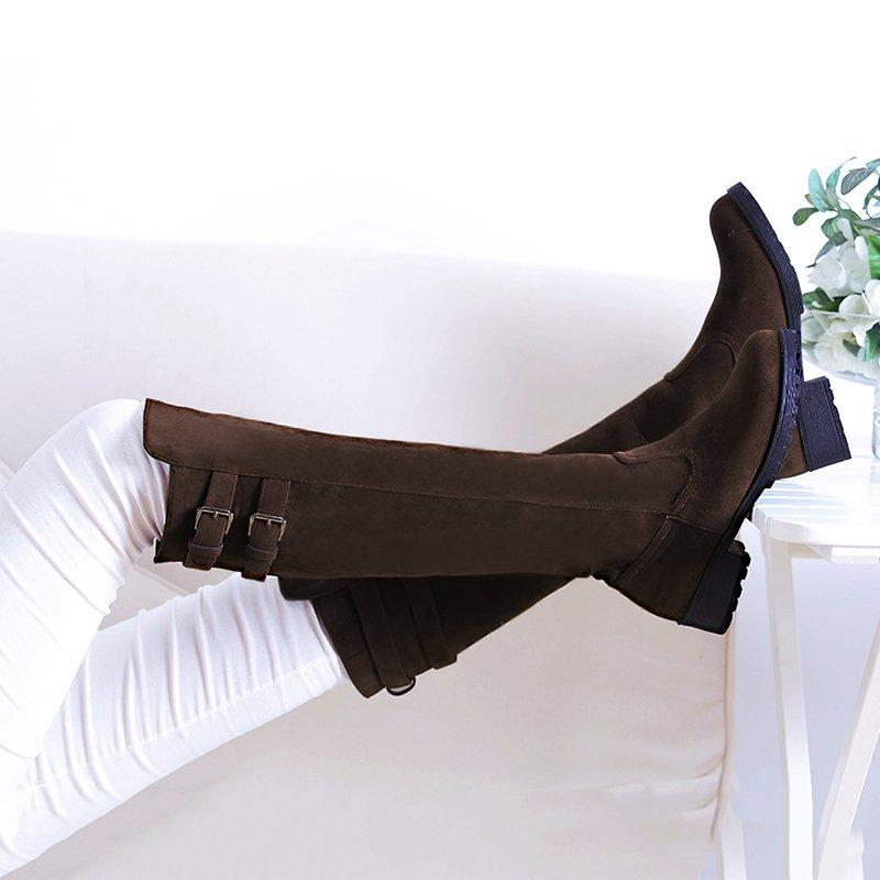 All Season Women Vintage Plus Size Casual Adjustable Buckle Boots