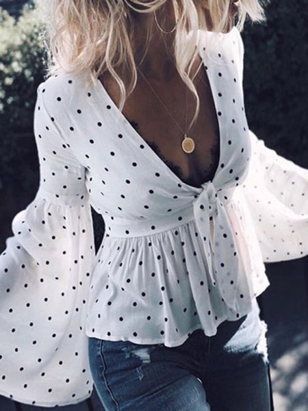 Bow Tied Polka Dots Bell Sleeve Blouse