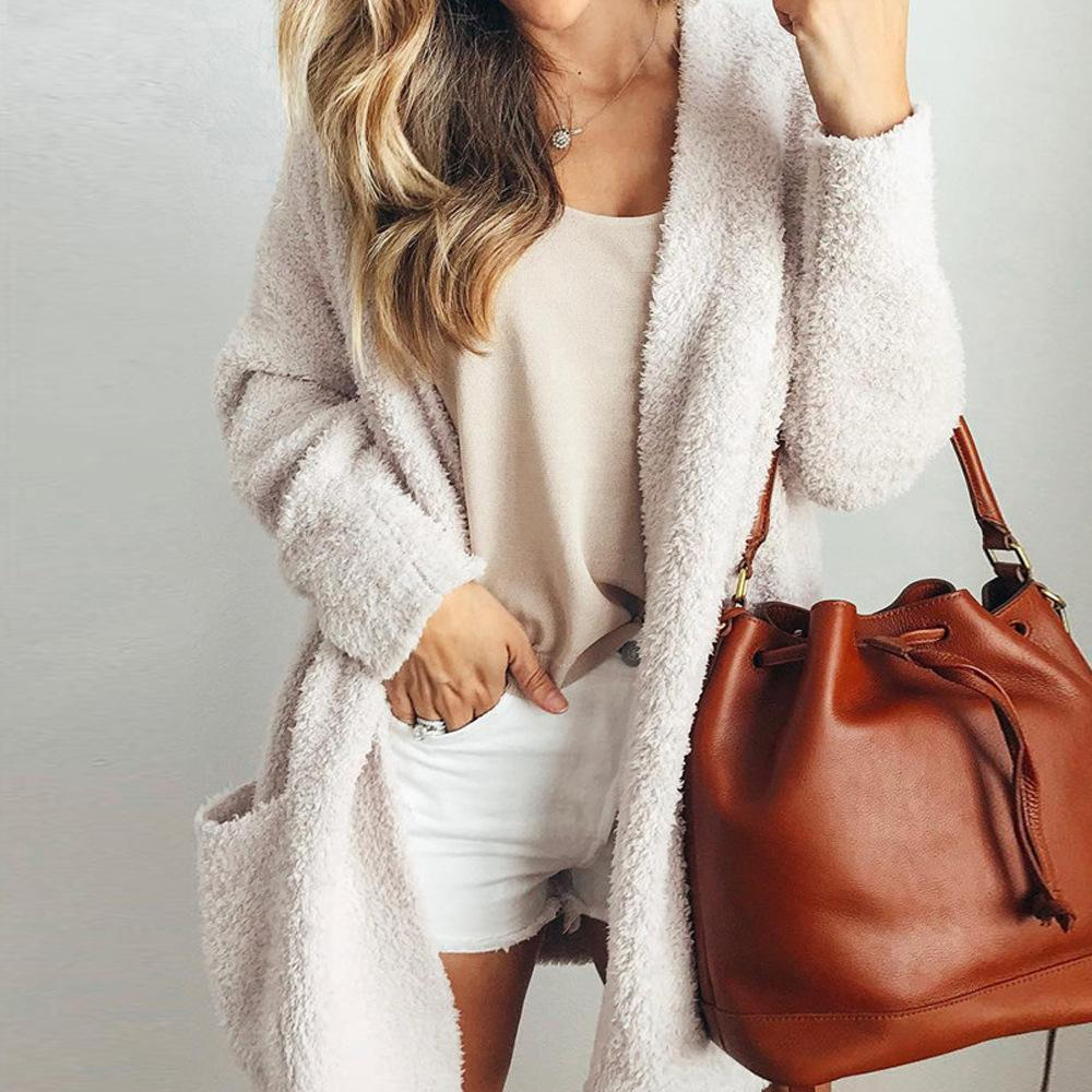 Casual Daily Loose Long-Sleeved Pocket Cardigan