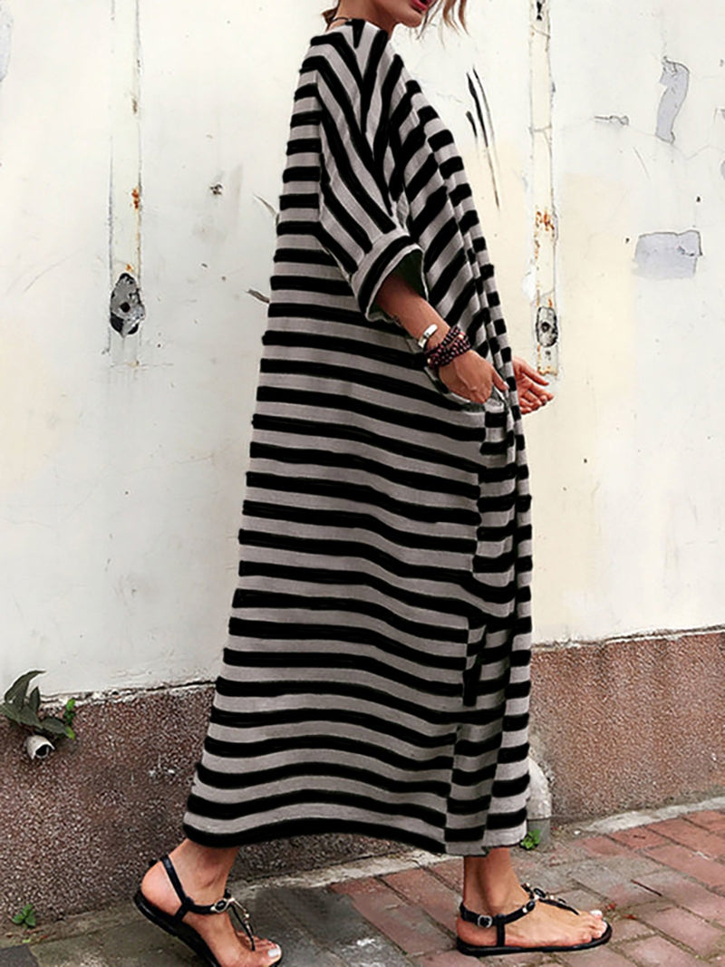 Striped 3/4 Sleeve Maxi Dress