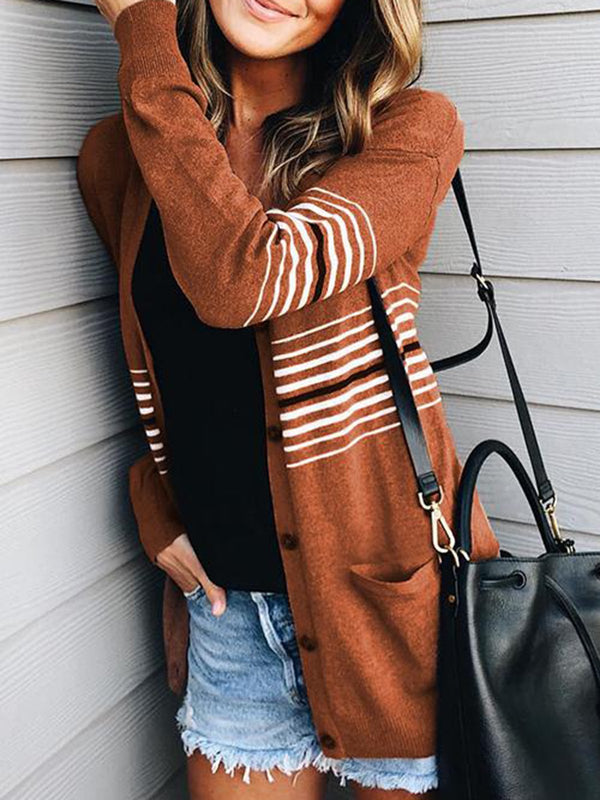 Brown Striped Sweet Long Sleeve Cardigan