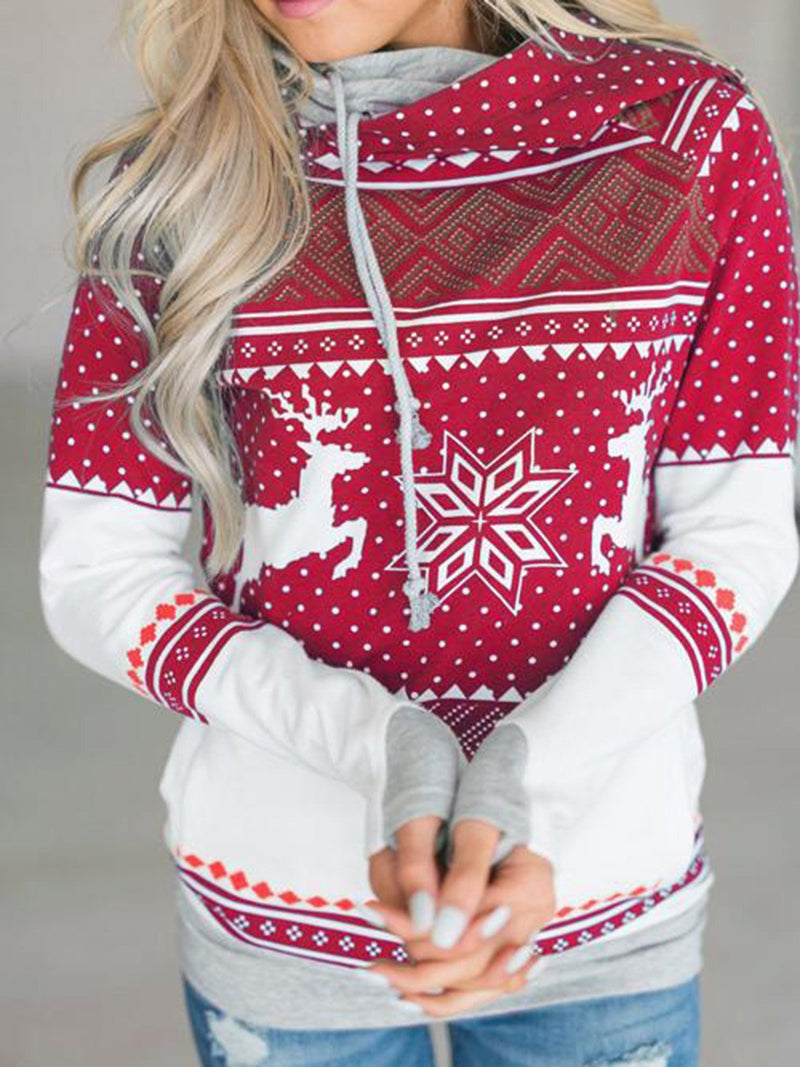Casual Print Christmas Pockets Long Sleeve Hoodie