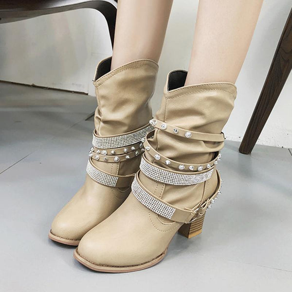 Adjustable Buckle Rivet Daily Chunky Heel Boot