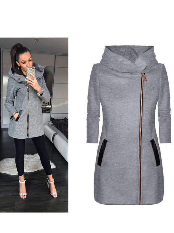Casual Solid Zipper Long Sleeve Jacket