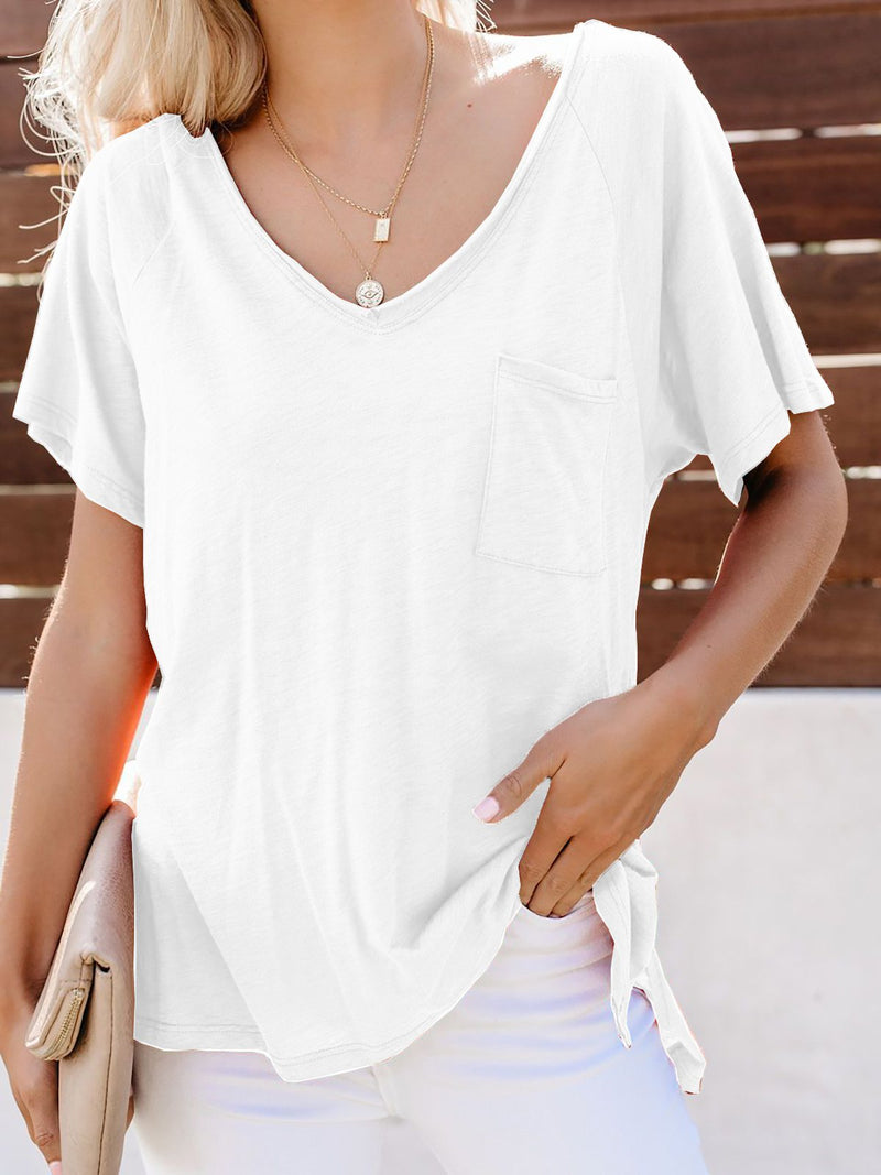 Casual Solid V Neck Short Sleeve Blouse