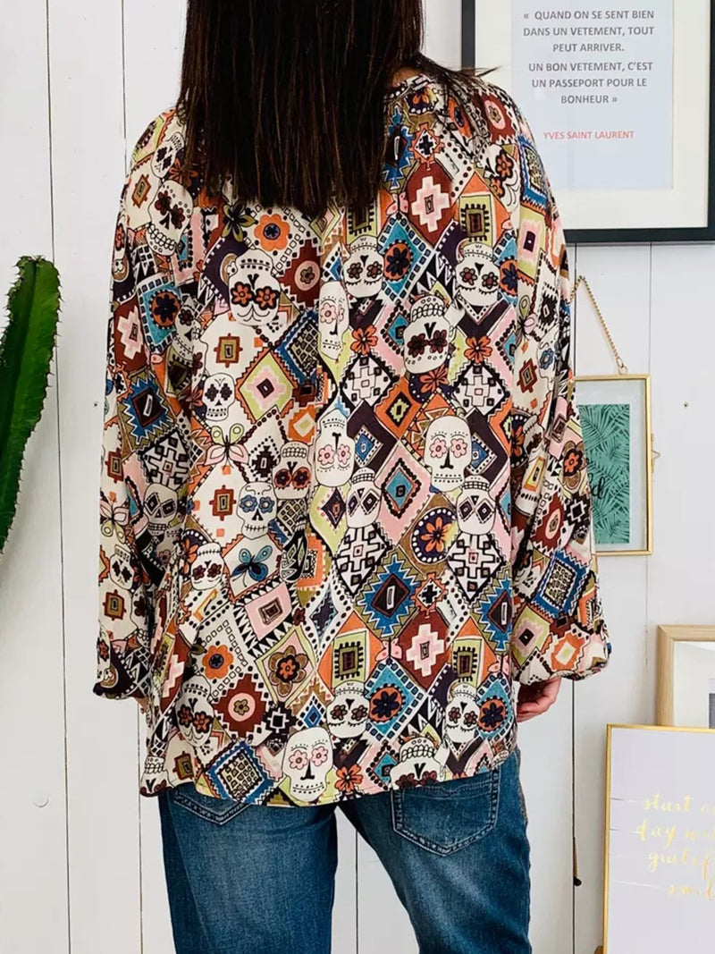 Printed Long Sleeve Geometric Blouse