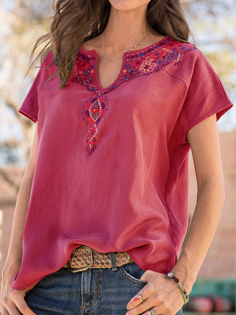 Cotton Floral Short Sleeve V Neck Shirts Blouses