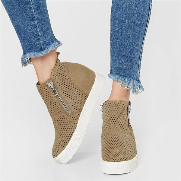 Breathable Hollow-out Zipper Casual Wedge Heel Boots
