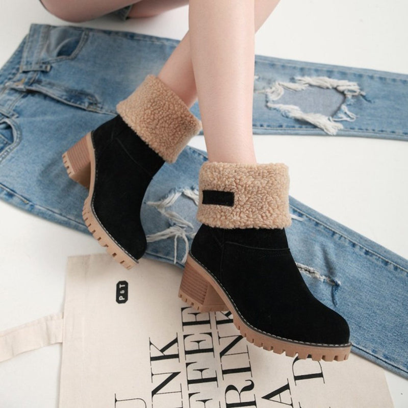 Women Warm Square Heels Ankle Snow Boots