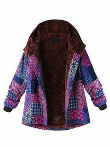 Abstract Casual Long Sleeve Casual Printed Hoodie Coat