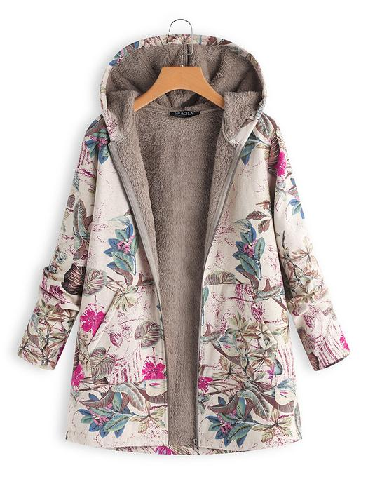 Vintage Leaves Floral Print Hooded Long Sleeve Coats