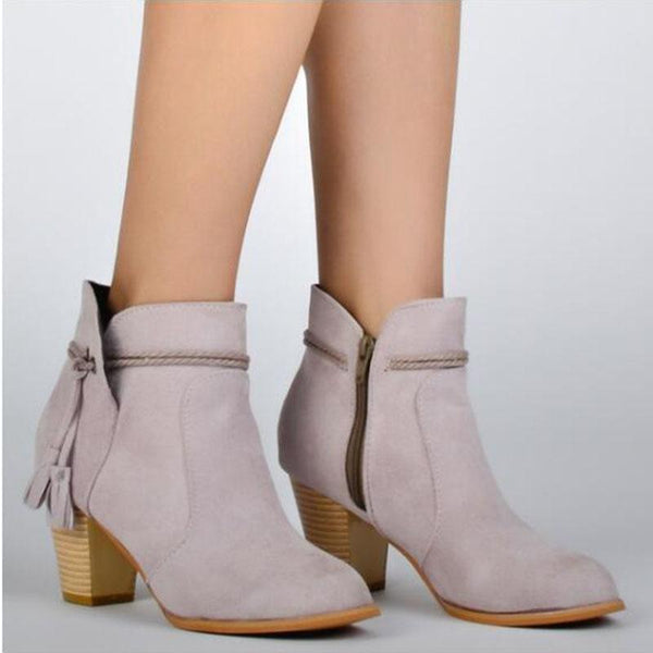 Ankle Zipper Pointed Toe Chunky Heel Boots