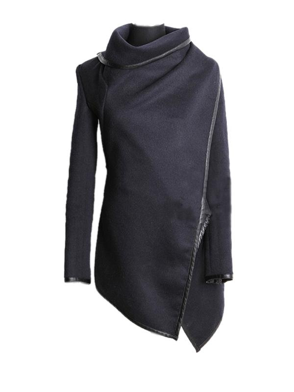 Asymmetric Solid Patchwork Long Sleeve Wrap Coat