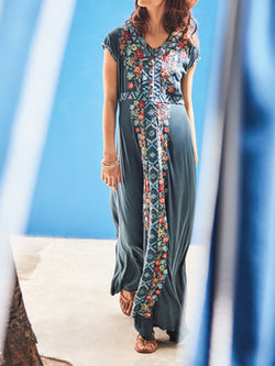 Casual Short Sleeve V Neck Plus Size Printed Maxi Dress