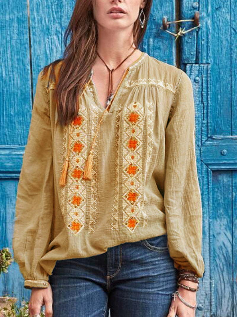 Blue Cotton-Blend Boho V Neck Shirts & Tops