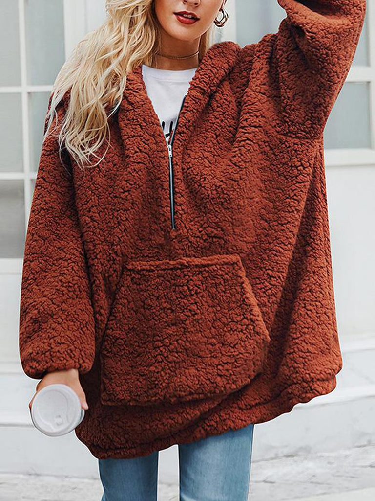 Casual Plain Lapel Long Sleeve Sweatshirt