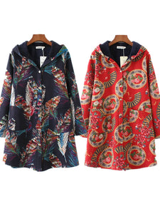 Abstract Feather Printed Hoodie Long Sleeve Coat