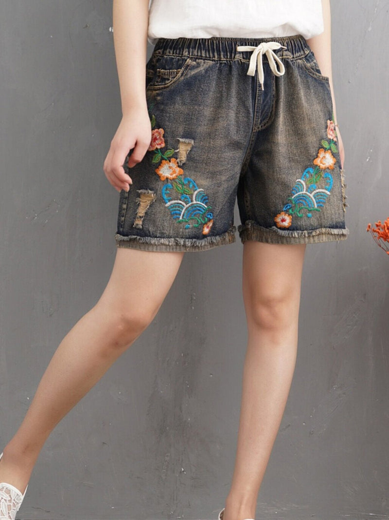 As Picture Casual Pockets Denim Pants