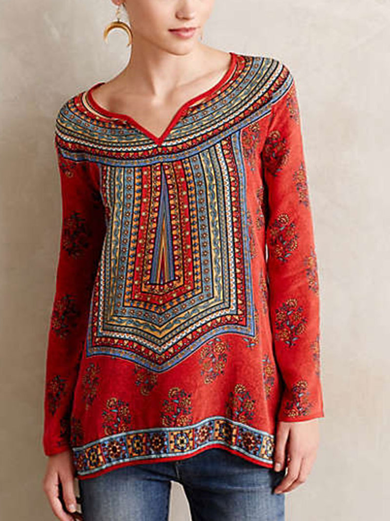 Red Casual Round Neck Shirts & Tops