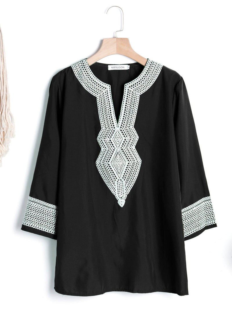 3/4 Sleeve Casual Paneled V Neck Geometric Top