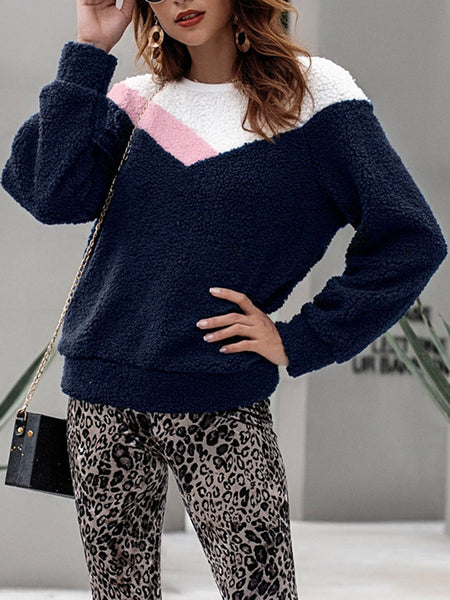 Color Block Pullover Casual Long Sleeve Crew Neck Sweater