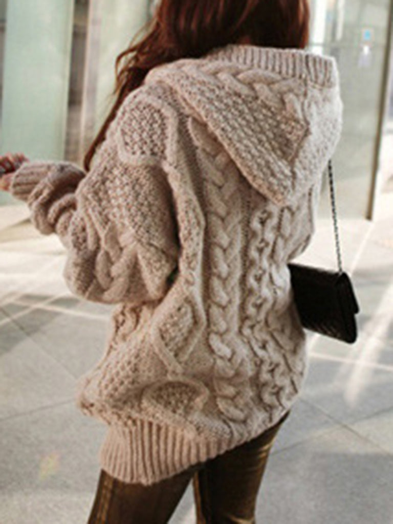 Knitted Solid Long Sleeve Simple Cardigan