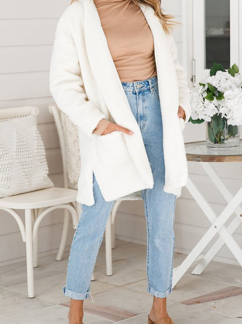 Casual Mid Length Knit Long Sleeve Cardigan