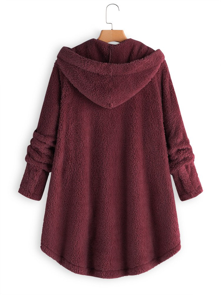 Buttoned Hoodie Cashmere Casual Coat