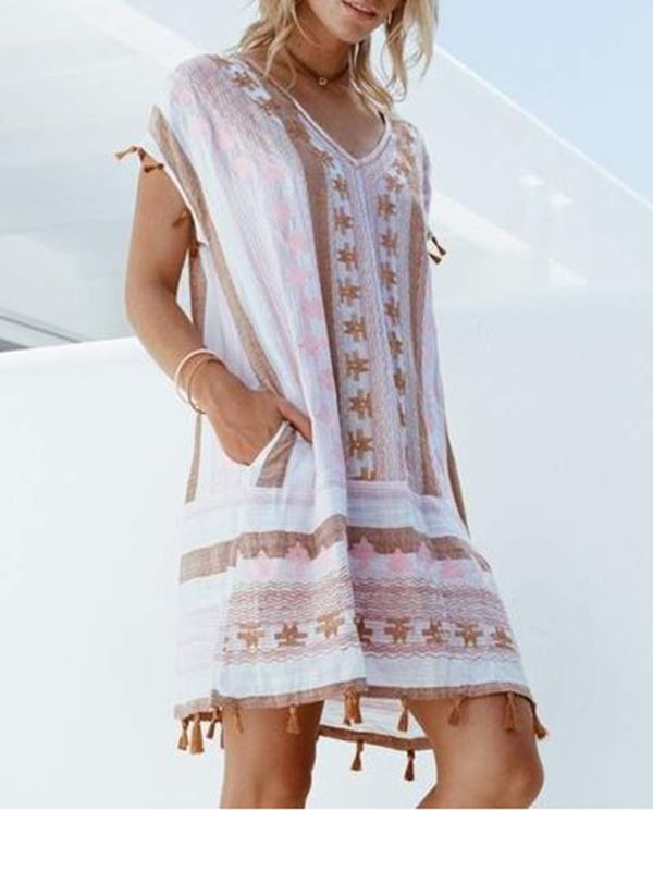 Short Sleeve V Neck Printed Dresses