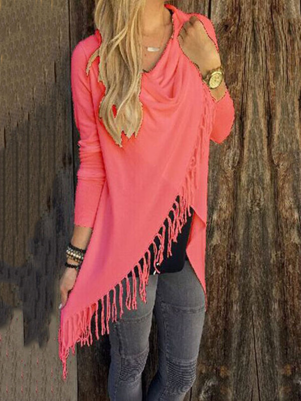 Casual Cowl Neck Knitted Long Sleeve Asymmetrical Fringed Sweater
