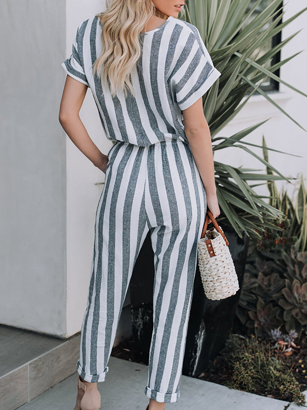 Crew Neck Striped Printed Casual Jumpsuit