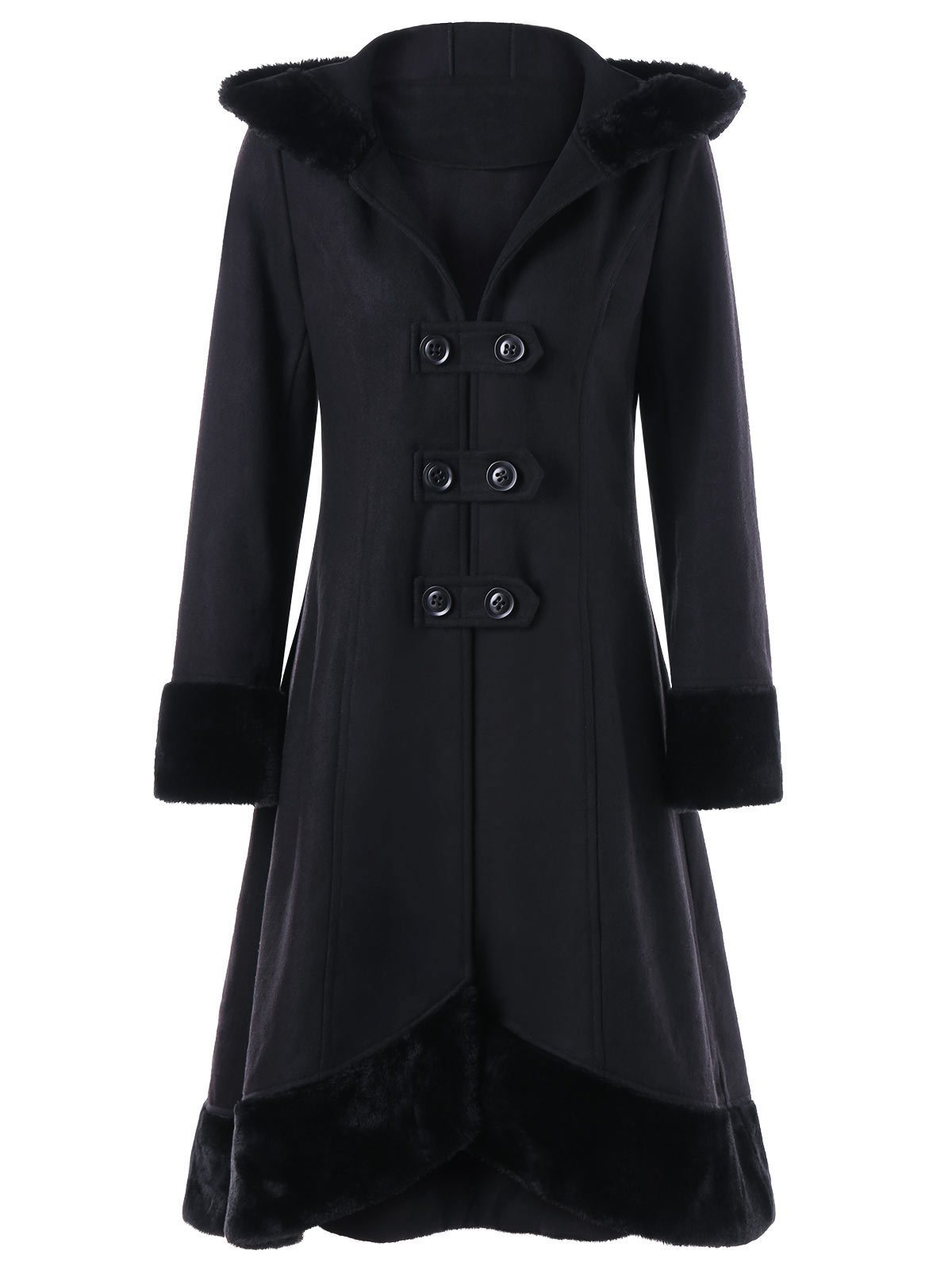 Christmas Casual Double-row Fur Collar Back Tie Coat