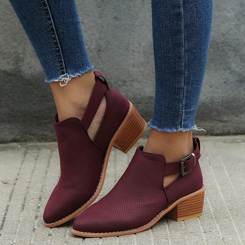 Casual Women Ankle Hollow Chunky Heel Boots