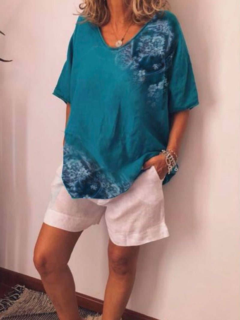 Casual Printed V-neck Short Sleeve Plus Size Blouse