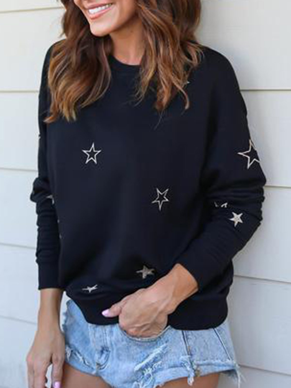 Black Printed Casual Long Sleeve Crew Neck Sweatshirt