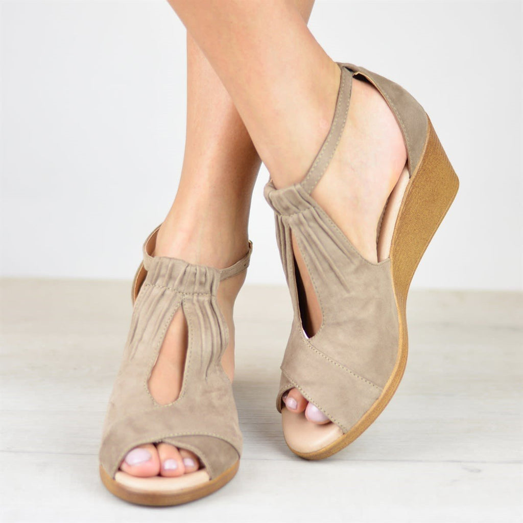 Comfort Sole Center Cut Wedge Sandals