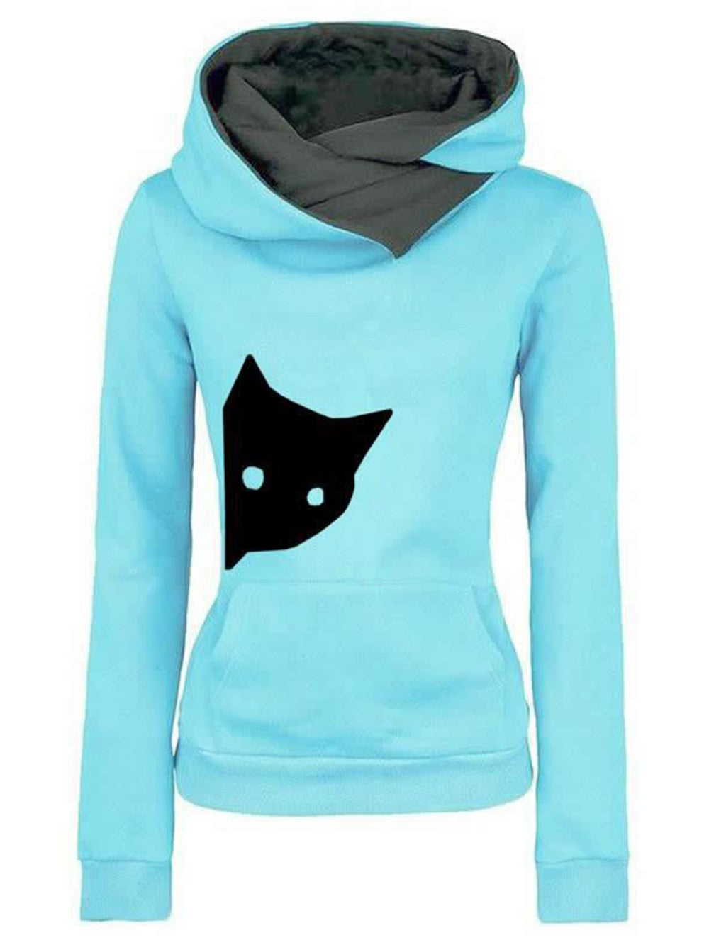 Casual Long Sleeve Women Hoodie Slightly Stretchy Sweatshirt
