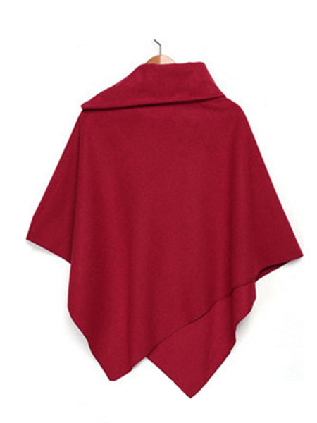 Cowl Neck Sleeveless Solid Plus Size Poncho