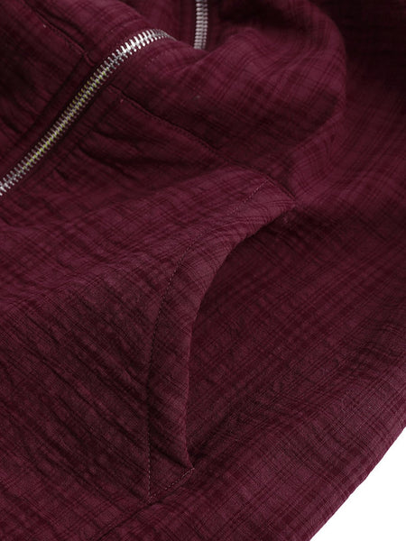 Casual Wine Red Solid Long Sleeve Coat